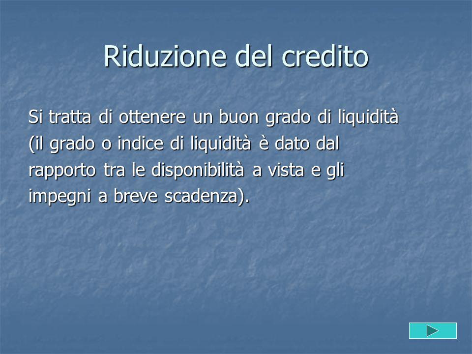 Riduzione del credito Si tratta di ottenere un buon grado di liquidità (il grado o indice di liquidità è dato dal rapporto tra le disponibilità a vist
