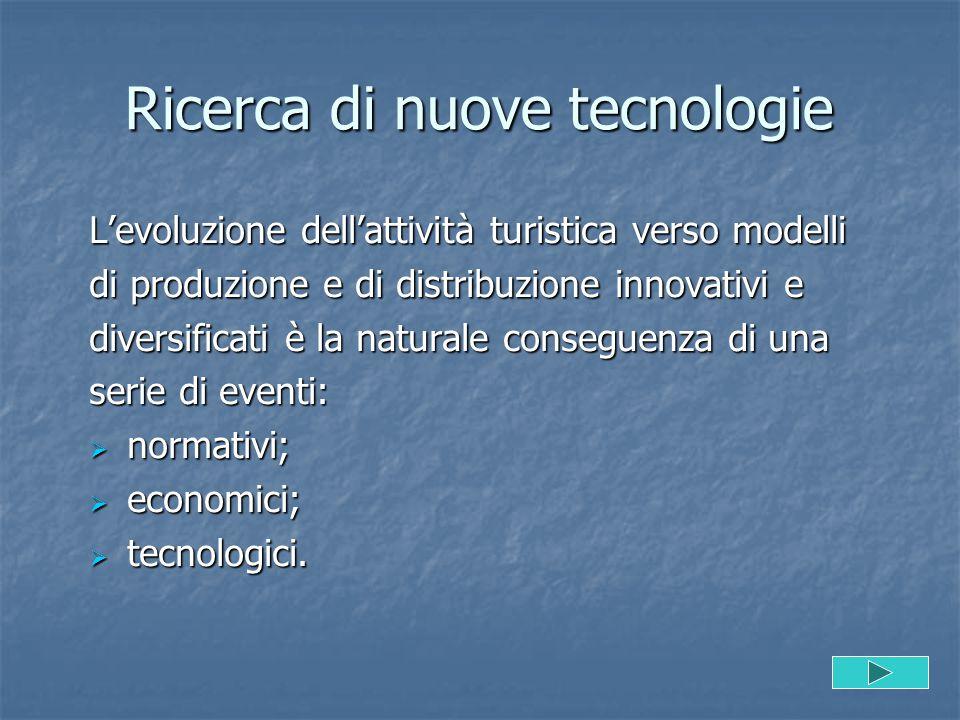Ricerca di nuove tecnologie L'evoluzione dell'attività turistica verso modelli di produzione e di distribuzione innovativi e diversificati è la natura