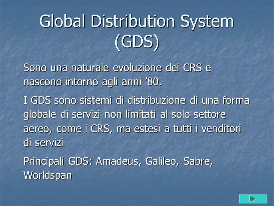 Global Distribution System (GDS) Sono una naturale evoluzione dei CRS e nascono intorno agli anni '80. I GDS sono sistemi di distribuzione di una form