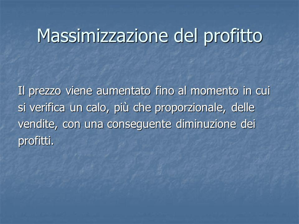 Massimizzazione del profitto Il prezzo viene aumentato fino al momento in cui si verifica un calo, più che proporzionale, delle vendite, con una conse