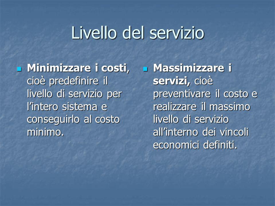 Livello del servizio Minimizzare i costi, cioè predefinire il livello di servizio per l'intero sistema e conseguirlo al costo minimo. Minimizzare i co