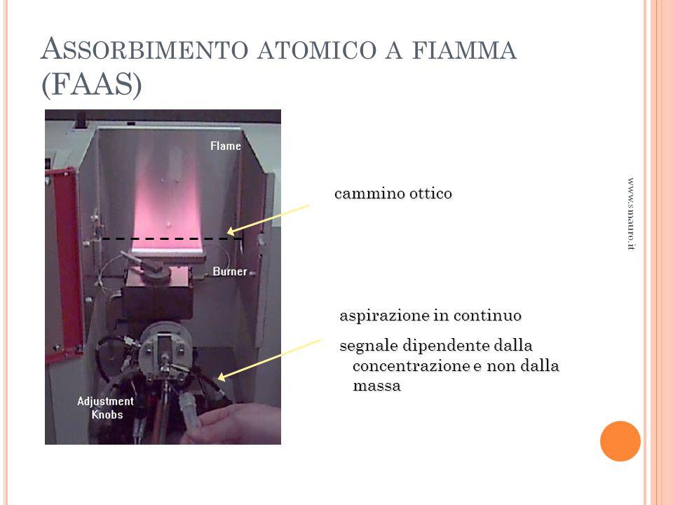 aspirazione in continuo segnale dipendente dalla concentrazione e non dalla massa cammino ottico A SSORBIMENTO ATOMICO A FIAMMA (FAAS) www.smauro.it
