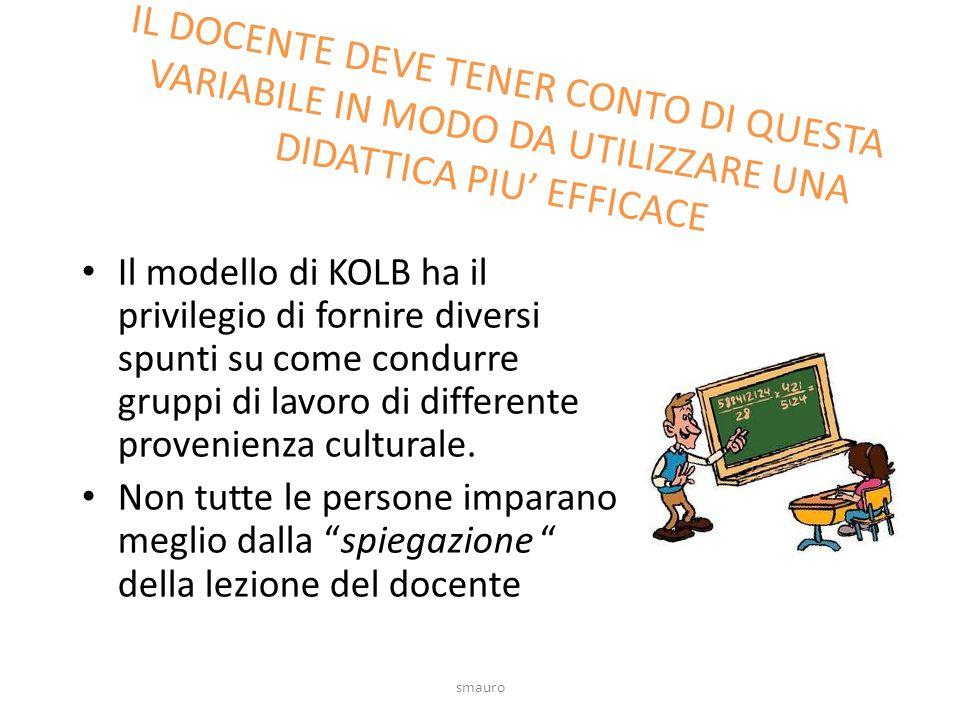 Il modello di KOLB ha il privilegio di fornire diversi spunti su come condurre gruppi di lavoro di differente provenienza culturale. Non tutte le pers