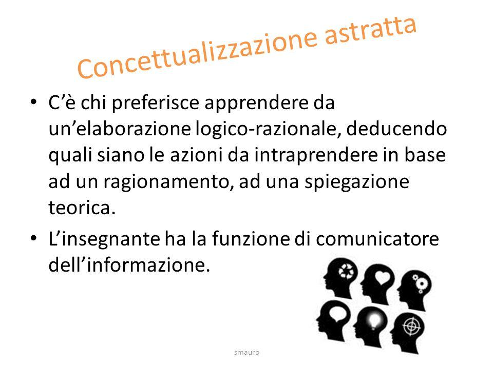 Concettualizzazione astratta C'è chi preferisce apprendere da un'elaborazione logico-razionale, deducendo quali siano le azioni da intraprendere in ba