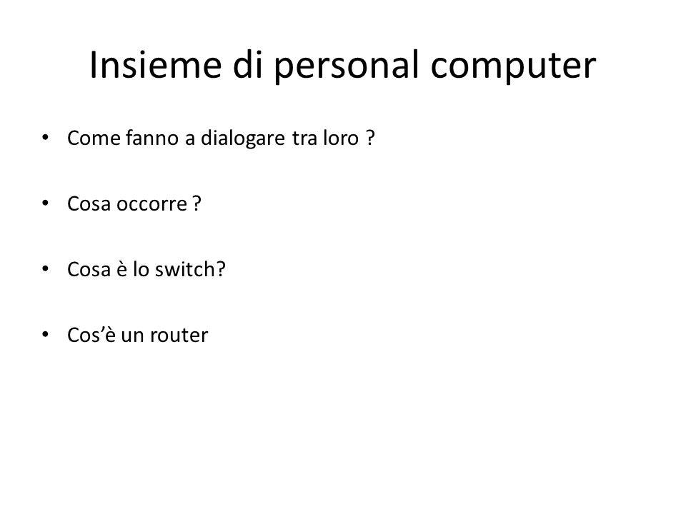 Insieme di personal computer Come fanno a dialogare tra loro .