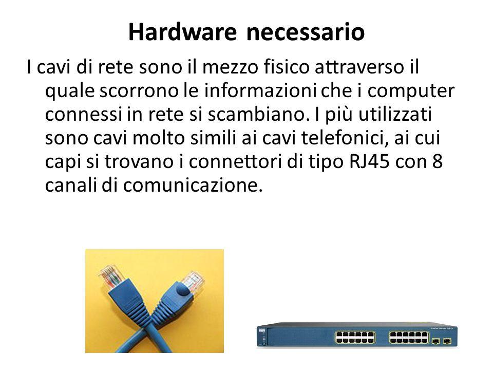 Hardware necessario I cavi di rete sono il mezzo fisico attraverso il quale scorrono le informazioni che i computer connessi in rete si scambiano.