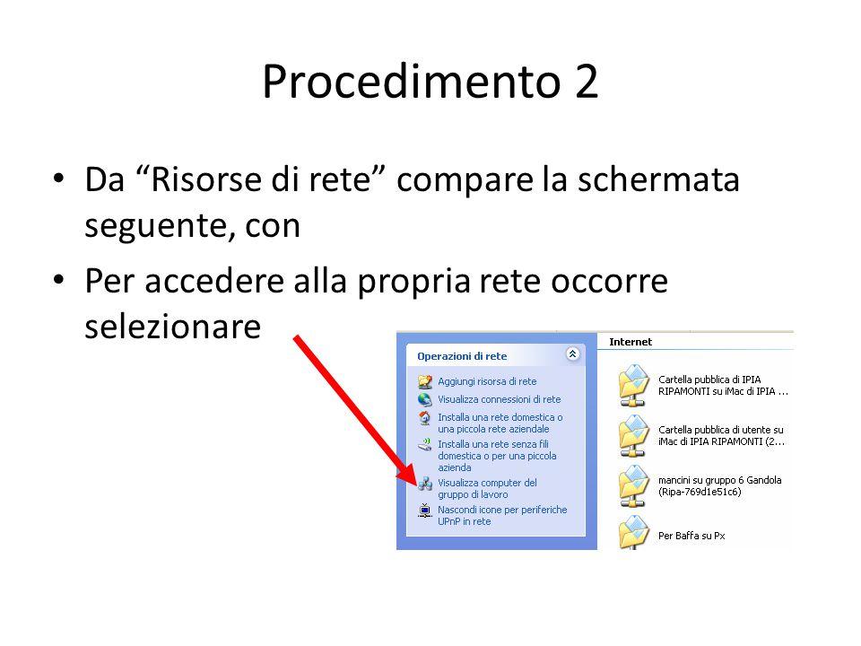 Procedimento 2 Da Risorse di rete compare la schermata seguente, con Per accedere alla propria rete occorre selezionare
