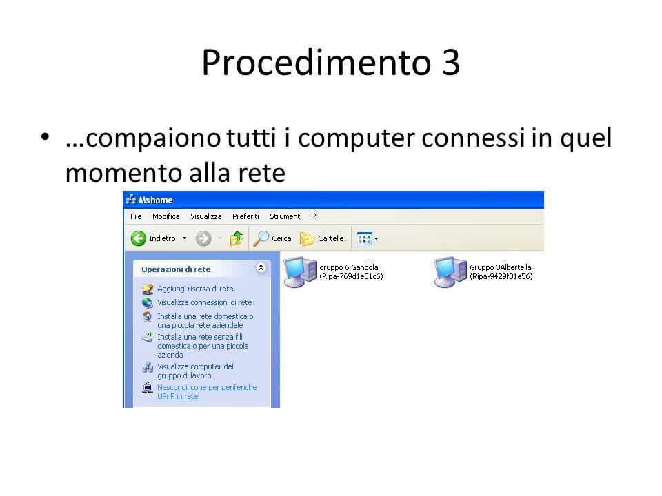 Procedimento 3 …compaiono tutti i computer connessi in quel momento alla rete