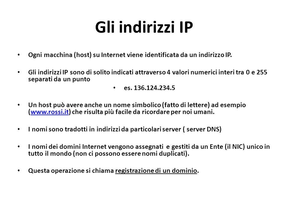Gli indirizzi IP Ogni macchina (host) su Internet viene identificata da un indirizzo IP.