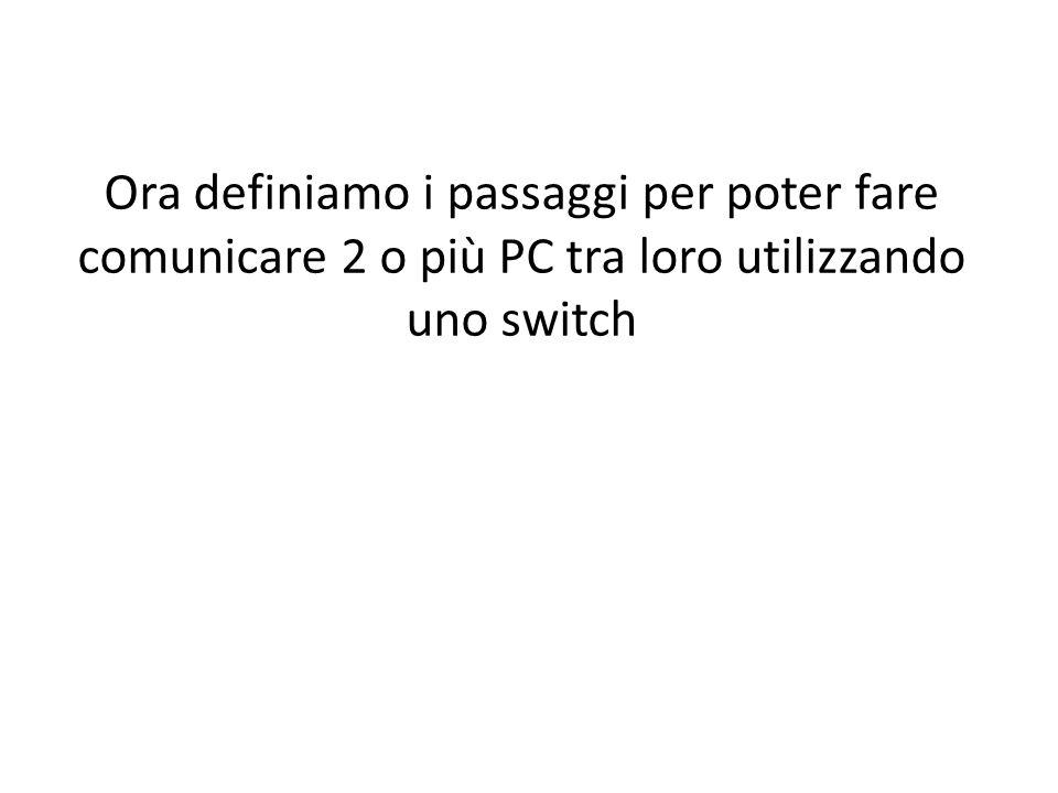 Ora definiamo i passaggi per poter fare comunicare 2 o più PC tra loro utilizzando uno switch