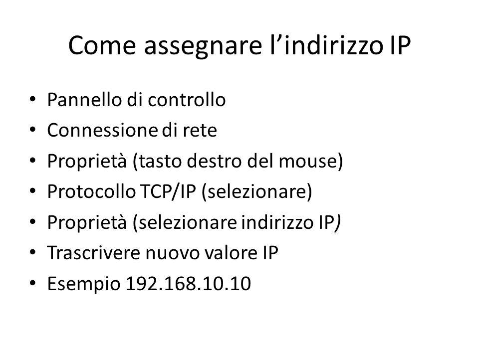 Come assegnare l'indirizzo IP Pannello di controllo Connessione di rete Proprietà (tasto destro del mouse) Protocollo TCP/IP (selezionare) Proprietà (selezionare indirizzo IP) Trascrivere nuovo valore IP Esempio 192.168.10.10