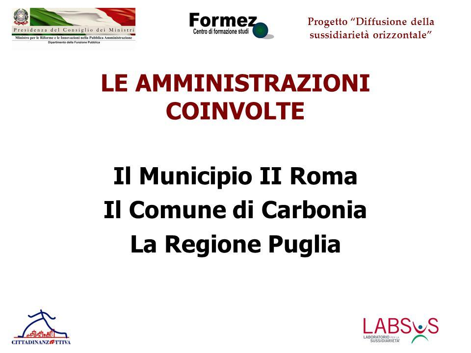 Progetto Diffusione della sussidiarietà orizzontale LE AMMINISTRAZIONI COINVOLTE Il Municipio II Roma Il Comune di Carbonia La Regione Puglia