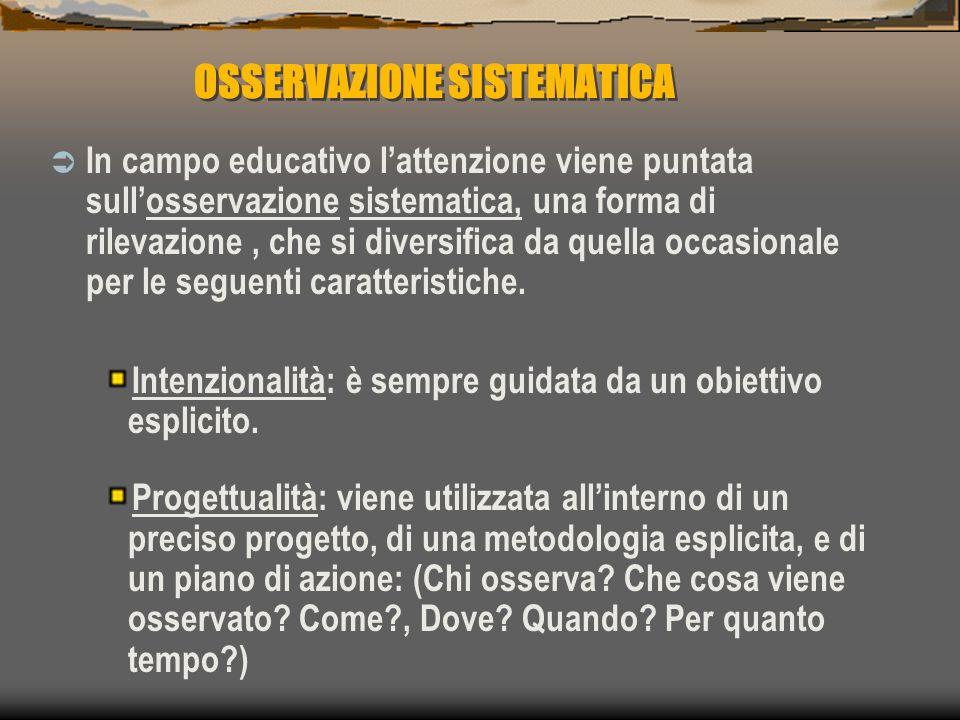 OSSERVAZIONE SISTEMATICA  In campo educativo l'attenzione viene puntata sull'osservazione sistematica, una forma di rilevazione, che si diversifica d