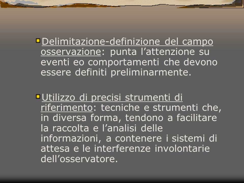 Delimitazione-definizione del campo osservazione: punta l'attenzione su eventi eo comportamenti che devono essere definiti preliminarmente. Utilizzo d