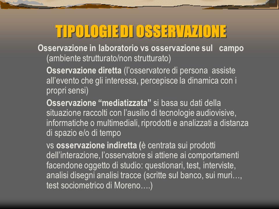 TIPOLOGIE DI OSSERVAZIONE Osservazione in laboratorio vs osservazione sul campo (ambiente strutturato/non strutturato) Osservazione diretta (l'osserva
