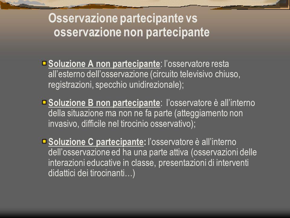Osservazione partecipante vs osservazione non partecipante Soluzione A non partecipante : l'osservatore resta all'esterno dell'osservazione (circuito