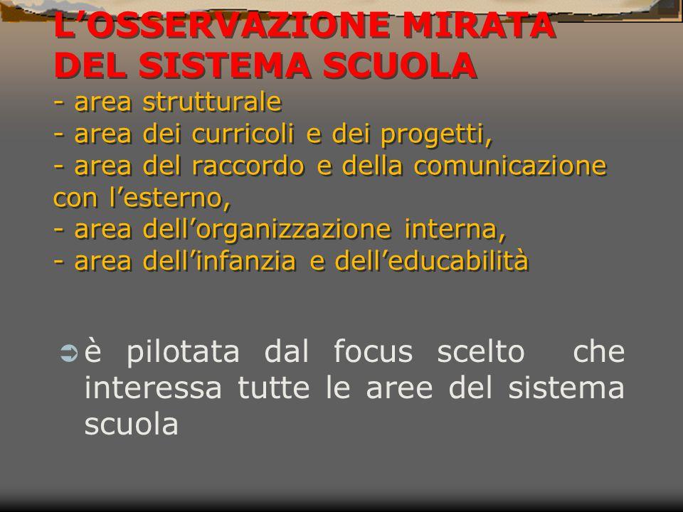 L'OSSERVAZIONE MIRATA DEL SISTEMA SCUOLA - area strutturale - area dei curricoli e dei progetti, - area del raccordo e della comunicazione con l'ester