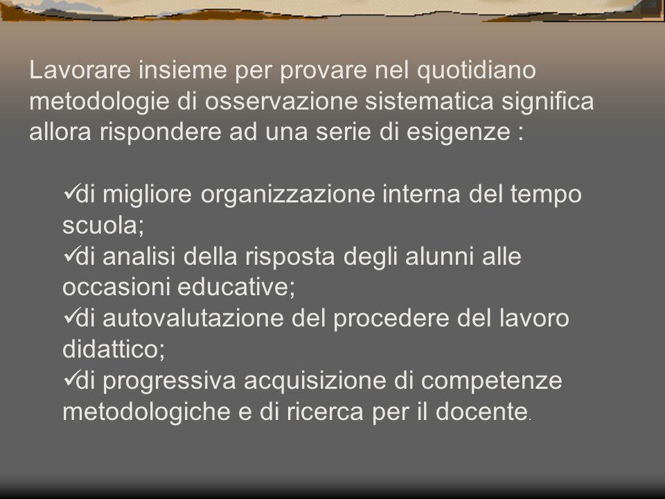 FUNZIONI DELL'OSSERVAZIONE (M.Postic, J.M. Ketele, 1993) 1.