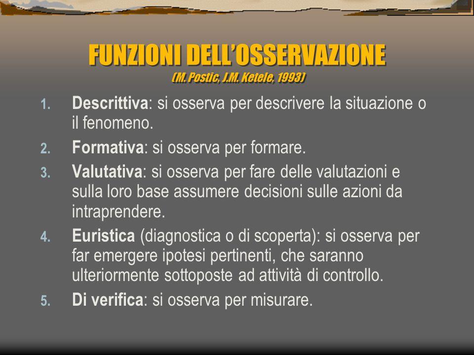 FUNZIONI DELL'OSSERVAZIONE (M. Postic, J.M. Ketele, 1993) 1. Descrittiva : si osserva per descrivere la situazione o il fenomeno. 2. Formativa : si os