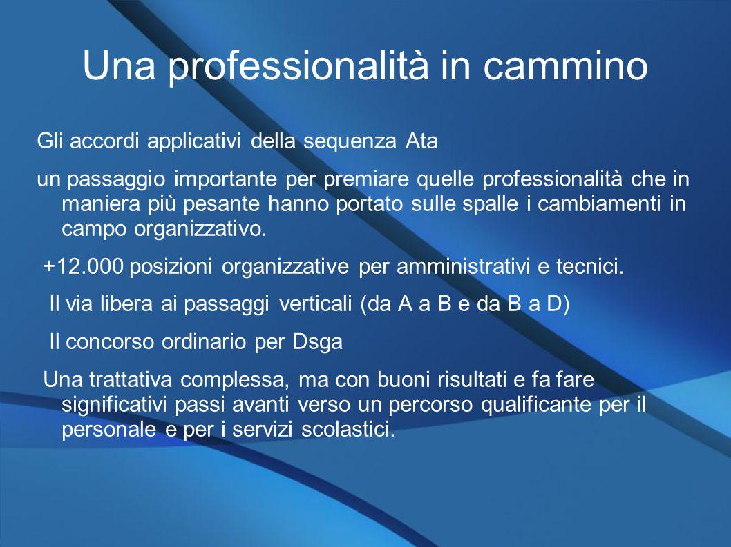 Una professionalità in cammino Gli accordi applicativi della sequenza Ata un passaggio importante per premiare quelle professionalità che in maniera più pesante hanno portato sulle spalle i cambiamenti in campo organizzativo.