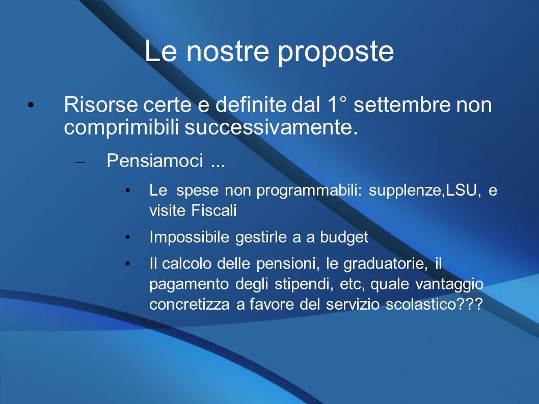Le nostre proposte Risorse certe e definite dal 1° settembre non comprimibili successivamente.