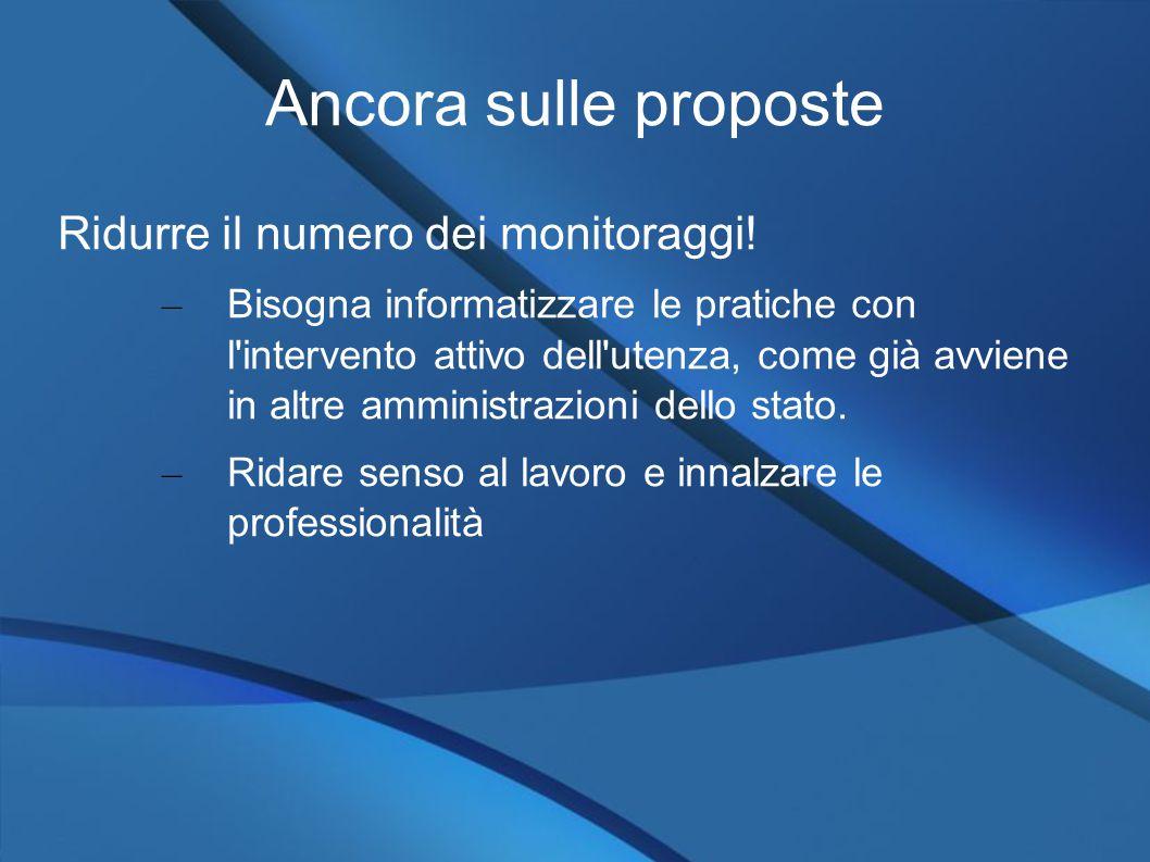 Ancora sulle proposte Ridurre il numero dei monitoraggi.