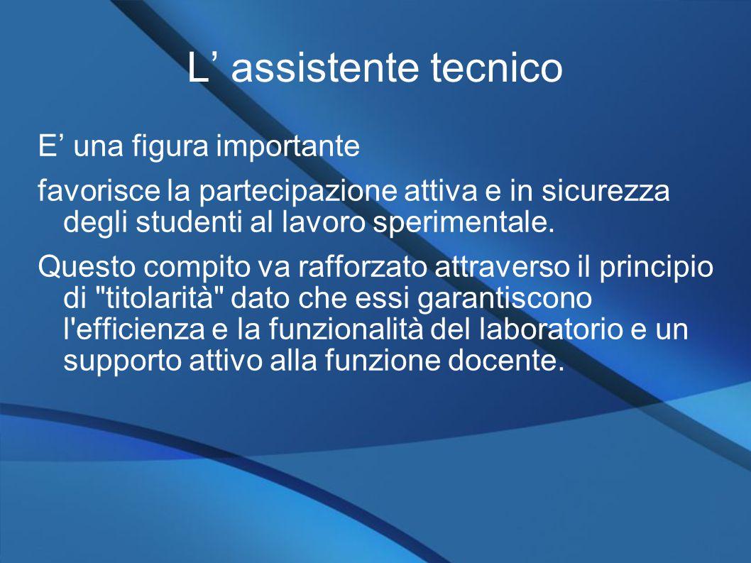 L' assistente tecnico E' una figura importante favorisce la partecipazione attiva e in sicurezza degli studenti al lavoro sperimentale.