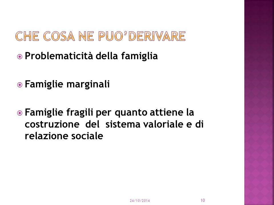  Problematicità della famiglia  Famiglie marginali  Famiglie fragili per quanto attiene la costruzione del sistema valoriale e di relazione sociale 24/10/2014 10