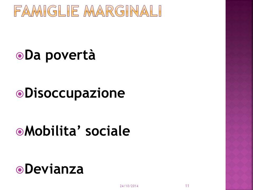 Da povertà  Disoccupazione  Mobilita' sociale  Devianza 24/10/2014 11