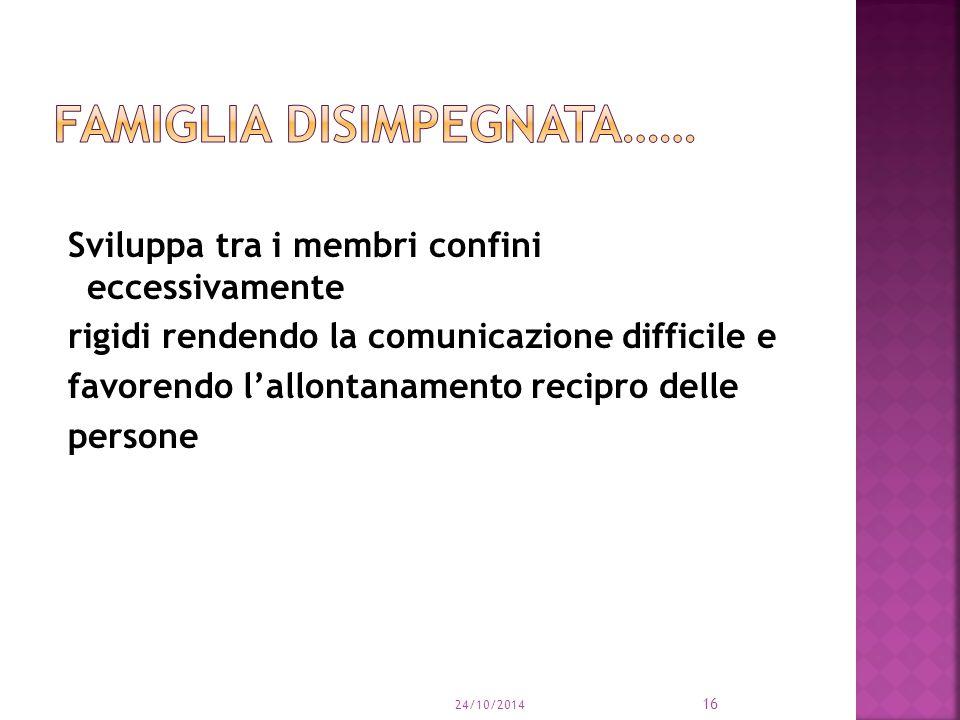 Sviluppa tra i membri confini eccessivamente rigidi rendendo la comunicazione difficile e favorendo l'allontanamento recipro delle persone 24/10/2014