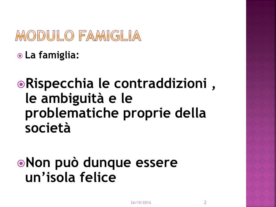  La famiglia:  Rispecchia le contraddizioni, le ambiguità e le problematiche proprie della società  Non può dunque essere un'isola felice 24/10/2014 2