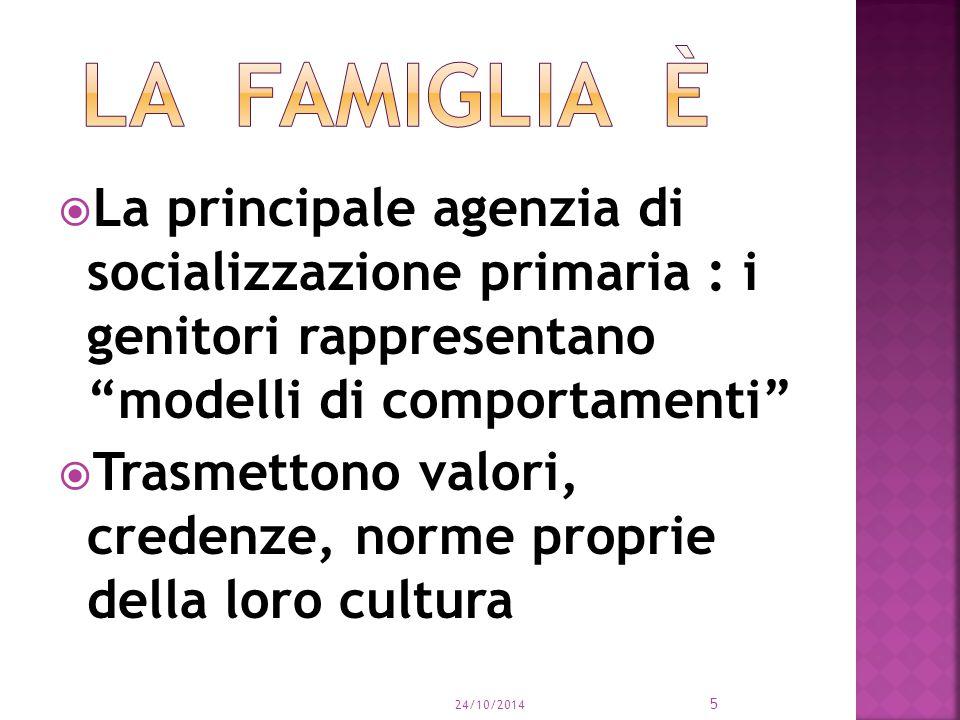  La principale agenzia di socializzazione primaria : i genitori rappresentano modelli di comportamenti  Trasmettono valori, credenze, norme proprie della loro cultura 24/10/2014 5