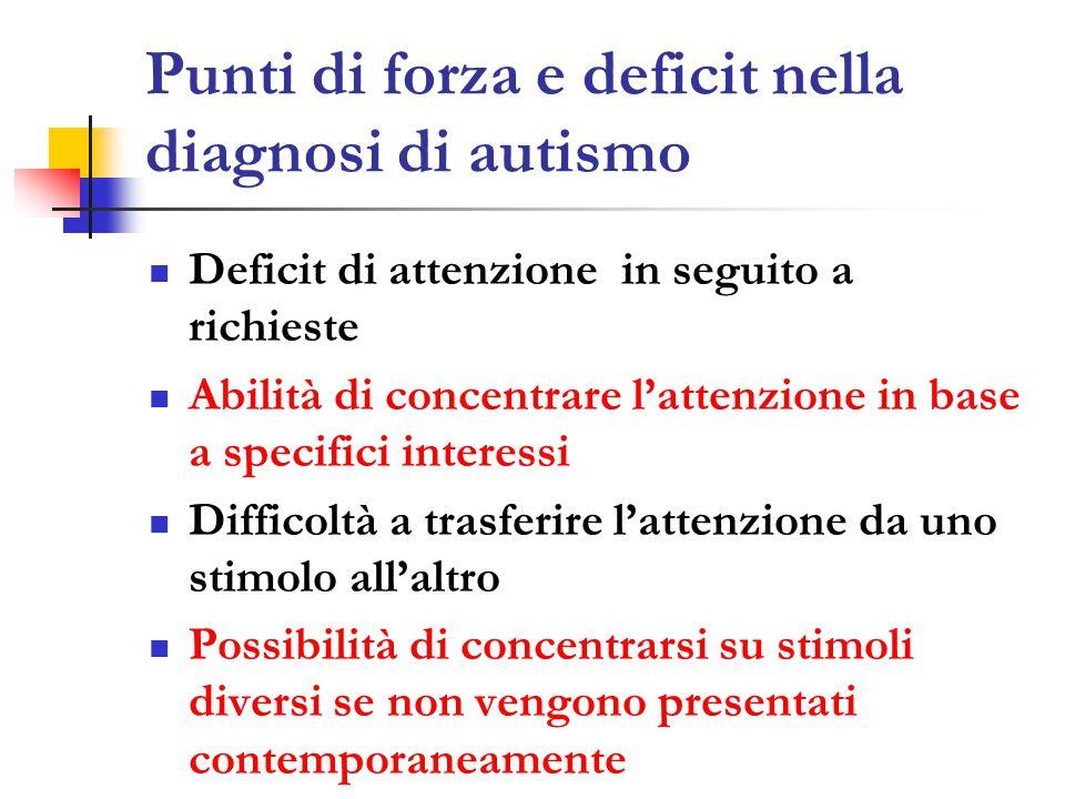 Punti di forza e deficit nella diagnosi di autismo Deficit di attenzione in seguito a richieste Abilità di concentrare l'attenzione in base a specifici interessi Difficoltà a trasferire l'attenzione da uno stimolo all'altro Possibilità di concentrarsi su stimoli diversi se non vengono presentati contemporaneamente
