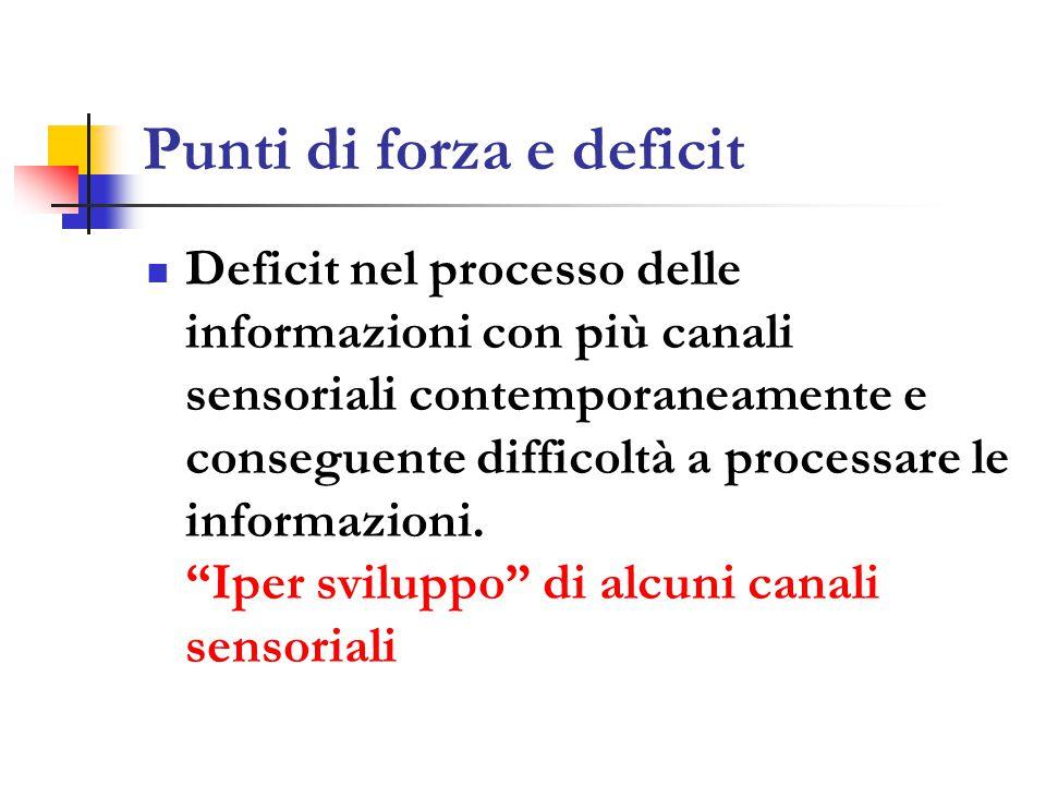 Punti di forza e deficit Deficit nel processo delle informazioni con più canali sensoriali contemporaneamente e conseguente difficoltà a processare le informazioni.