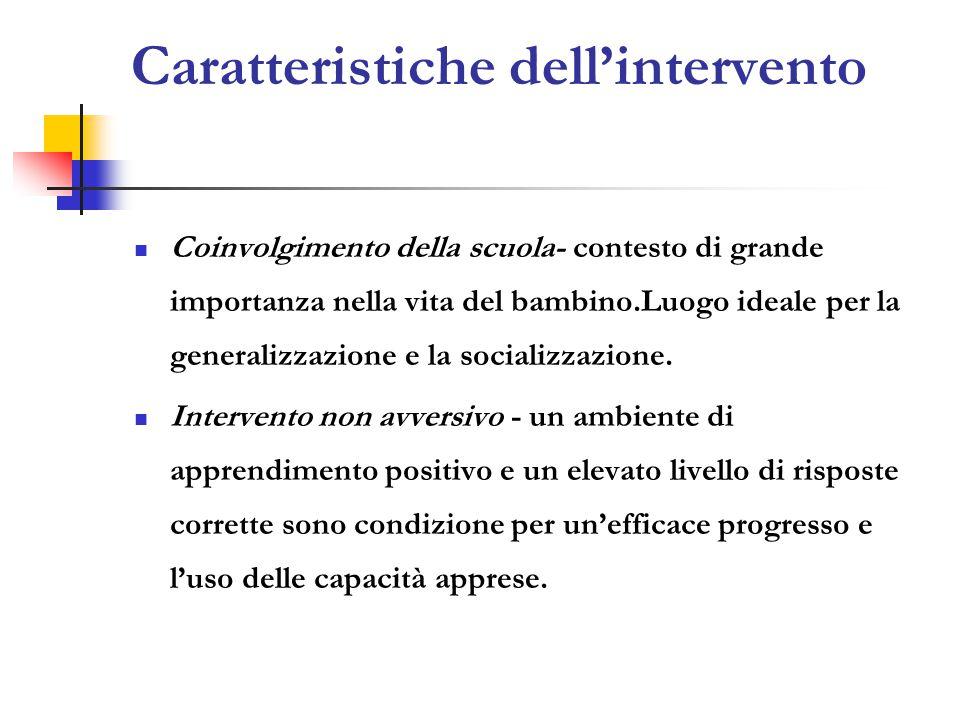 Caratteristiche dell'intervento Coinvolgimento della scuola- contesto di grande importanza nella vita del bambino.Luogo ideale per la generalizzazione e la socializzazione.