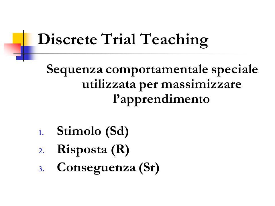 Discrete Trial Teaching Sequenza comportamentale speciale utilizzata per massimizzare l'apprendimento 1.