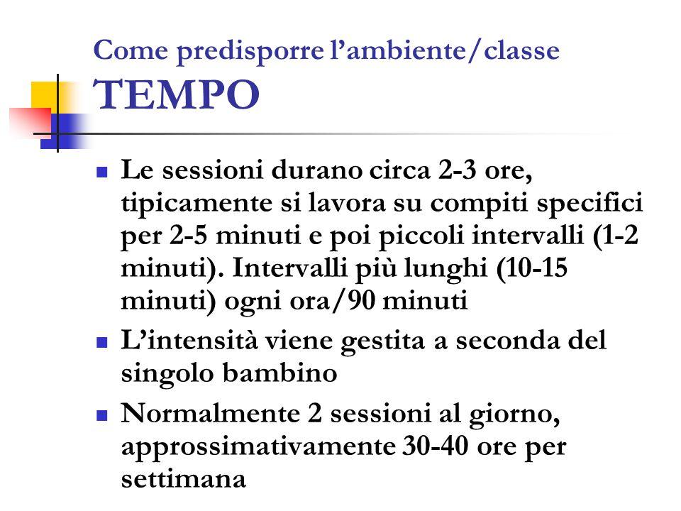 Come predisporre l'ambiente/classe TEMPO Le sessioni durano circa 2-3 ore, tipicamente si lavora su compiti specifici per 2-5 minuti e poi piccoli intervalli (1-2 minuti).