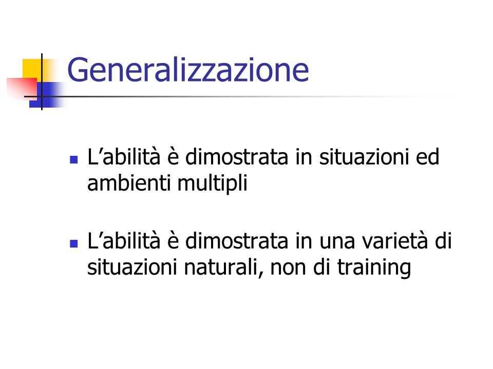 Generalizzazione L'abilità è dimostrata in situazioni ed ambienti multipli L'abilità è dimostrata in una varietà di situazioni naturali, non di training