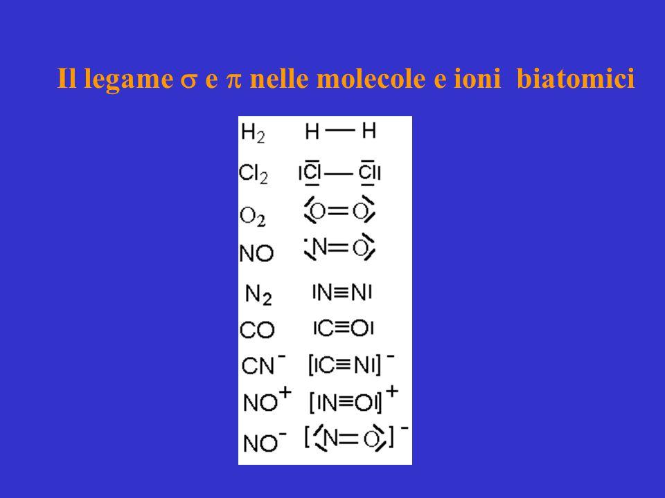 Il legame  e  nelle molecole e ioni biatomici
