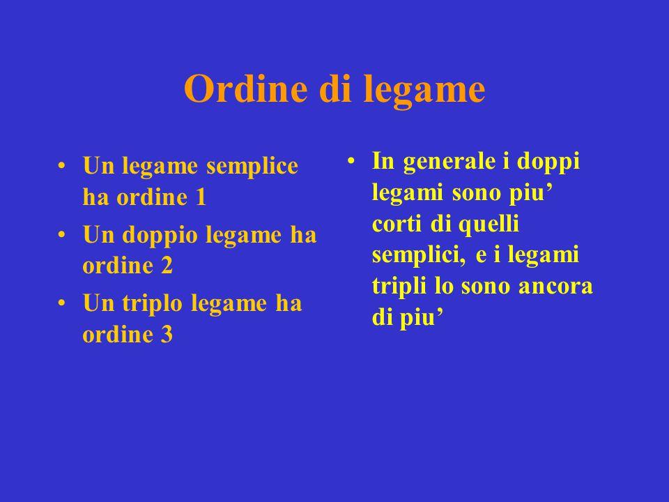 Ordine di legame Un legame semplice ha ordine 1 Un doppio legame ha ordine 2 Un triplo legame ha ordine 3 In generale i doppi legami sono piu' corti di quelli semplici, e i legami tripli lo sono ancora di piu'