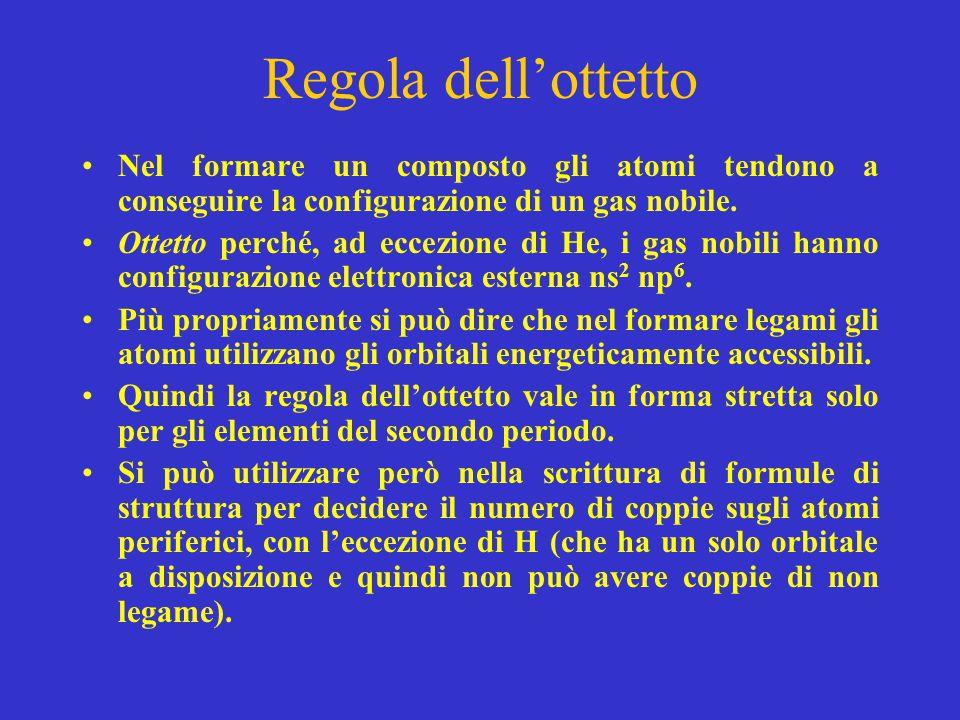 Regola dell'ottetto Nel formare un composto gli atomi tendono a conseguire la configurazione di un gas nobile.