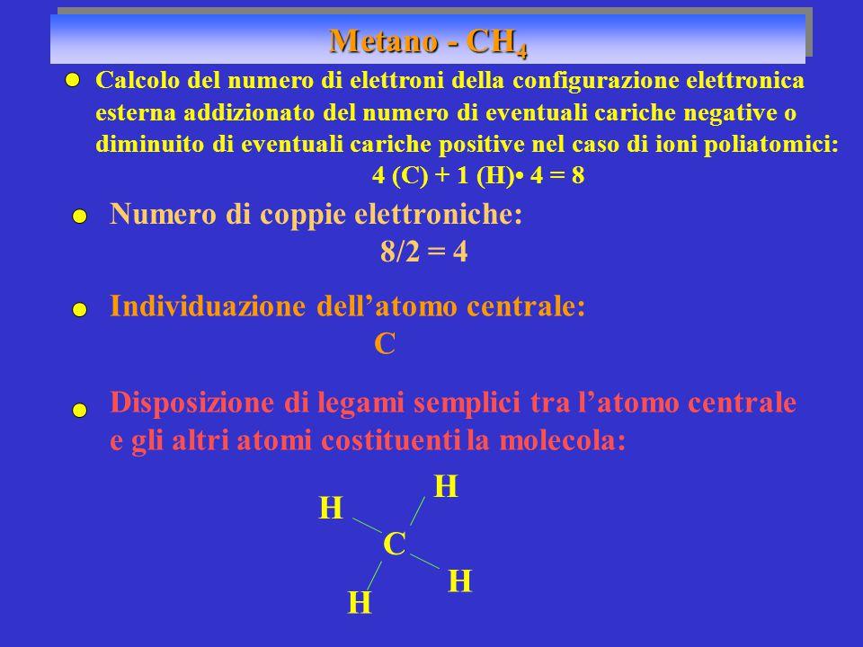 Calcolo del numero di elettroni della configurazione elettronica esterna addizionato del numero di eventuali cariche negative o diminuito di eventuali cariche positive nel caso di ioni poliatomici: 4 (C) + 1 (H) 4 = 8 Numero di coppie elettroniche: 8/2 = 4 Individuazione dell'atomo centrale: C C H H H H Metano - CH 4 Disposizione di legami semplici tra l'atomo centrale e gli altri atomi costituenti la molecola: