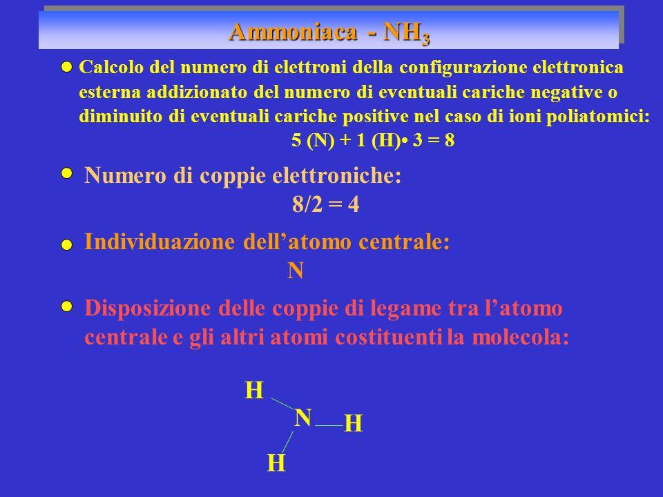 Ammoniaca - NH 3 Numero di coppie elettroniche: 8/2 = 4 Individuazione dell'atomo centrale: N N H H H Disposizione delle coppie di legame tra l'atomo centrale e gli altri atomi costituenti la molecola: Calcolo del numero di elettroni della configurazione elettronica esterna addizionato del numero di eventuali cariche negative o diminuito di eventuali cariche positive nel caso di ioni poliatomici: 5 (N) + 1 (H) 3 = 8
