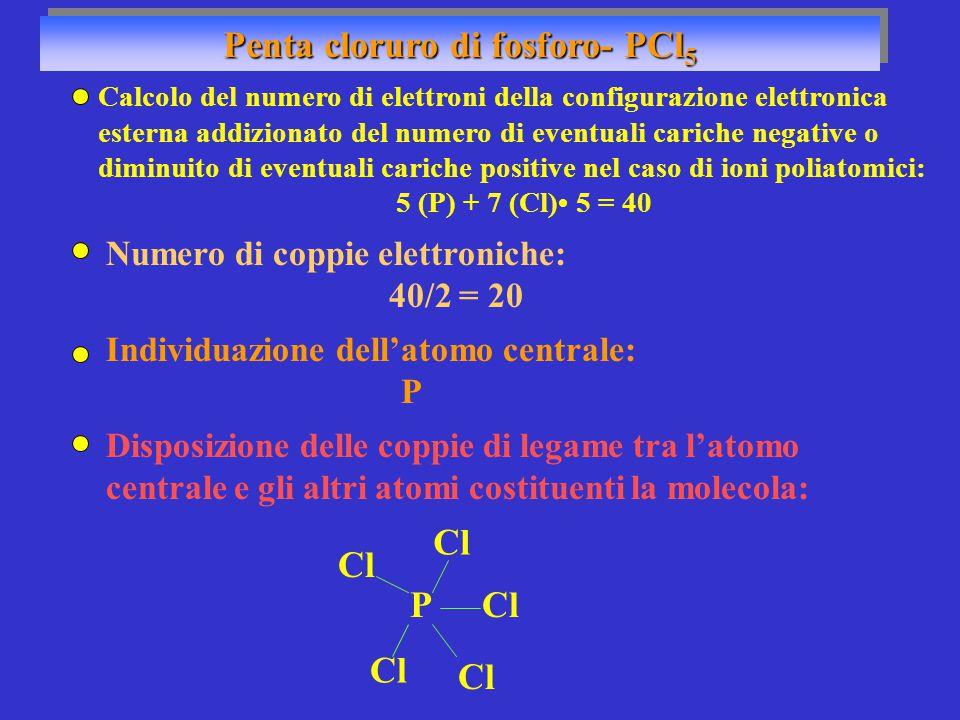 Penta cloruro di fosforo- PCl 5 Numero di coppie elettroniche: 40/2 = 20 Individuazione dell'atomo centrale: P PCl Disposizione delle coppie di legame tra l'atomo centrale e gli altri atomi costituenti la molecola: Calcolo del numero di elettroni della configurazione elettronica esterna addizionato del numero di eventuali cariche negative o diminuito di eventuali cariche positive nel caso di ioni poliatomici: 5 (P) + 7 (Cl) 5 = 40 Cl