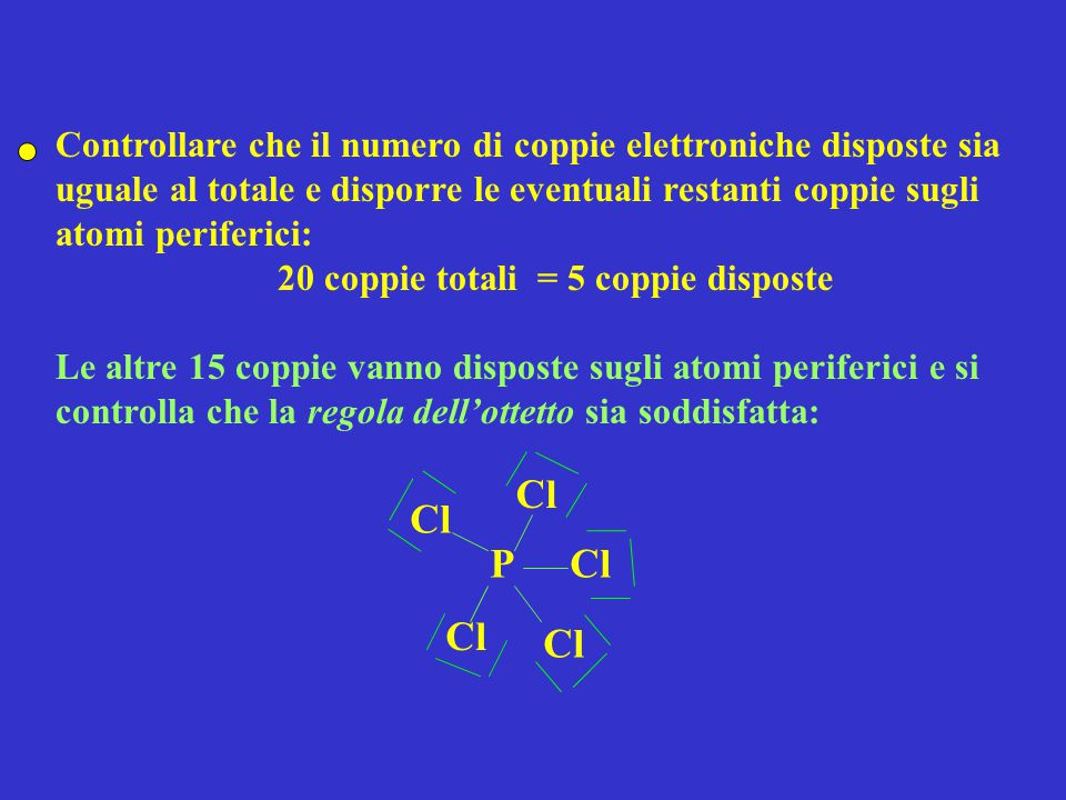 Controllare che il numero di coppie elettroniche disposte sia uguale al totale e disporre le eventuali restanti coppie sugli atomi periferici: 20 coppie totali = 5 coppie disposte Le altre 15 coppie vanno disposte sugli atomi periferici e si controlla che la regola dell'ottetto sia soddisfatta: PCl