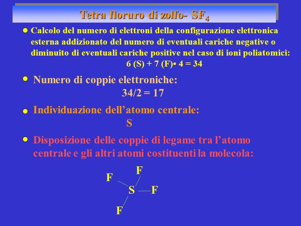 Tetra floruro di zolfo- SF 4 Numero di coppie elettroniche: 34/2 = 17 Individuazione dell'atomo centrale: S SF F F Disposizione delle coppie di legame tra l'atomo centrale e gli altri atomi costituenti la molecola: Calcolo del numero di elettroni della configurazione elettronica esterna addizionato del numero di eventuali cariche negative o diminuito di eventuali cariche positive nel caso di ioni poliatomici: 6 (S) + 7 (F) 4 = 34 F