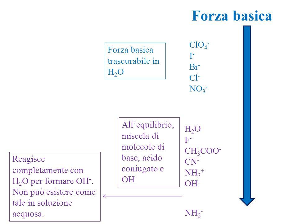 Forza basica Forza basica trascurabile in H 2 O All'equilibrio, miscela di molecole di base, acido coniugato e OH - ClO 4 - I - Br - Cl - NO 3 - H 2 O