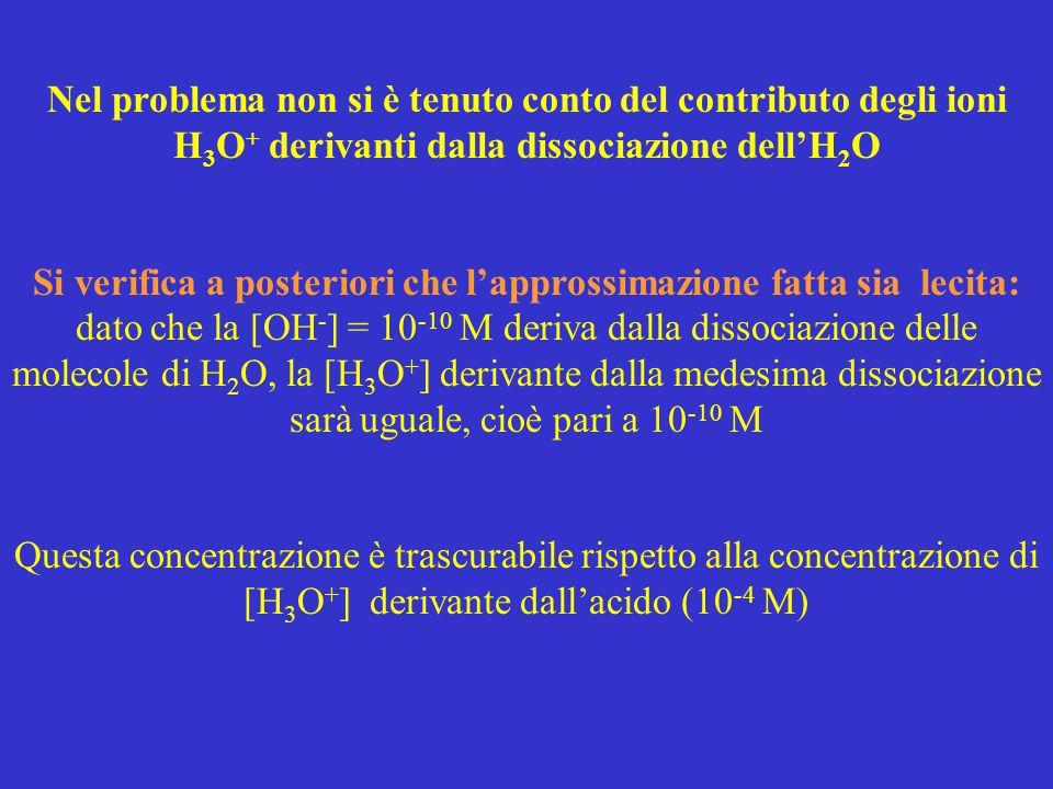 Nel problema non si è tenuto conto del contributo degli ioni H 3 O + derivanti dalla dissociazione dell'H 2 O Si verifica a posteriori che l'approssim