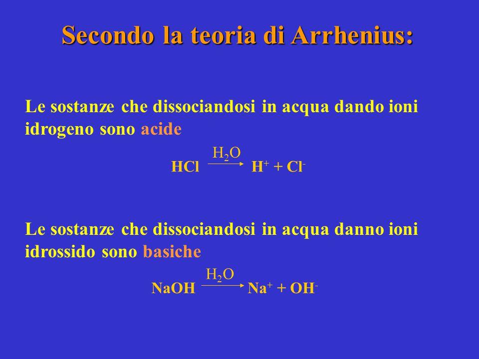 Secondo la teoria di Arrhenius: Le sostanze che dissociandosi in acqua dando ioni idrogeno sono acide Le sostanze che dissociandosi in acqua danno ion