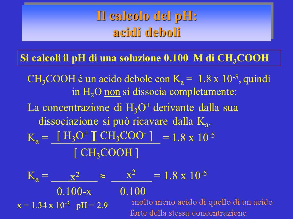 CH 3 COOH è un acido debole con K a = 1.8 x 10 -5, quindi in H 2 O non si dissocia completamente: La concentrazione di H 3 O + derivante dalla sua dis